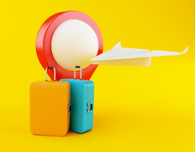 Koffer der reise 3d, papierflugzeug und kartenzeiger.