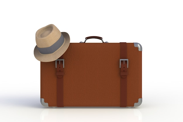 Koffer eines reisenden mit dem strohhut lokalisiert auf weißem hintergrund, wiedergabe 3d