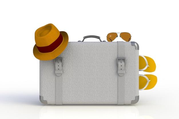 Koffer eines reisenden mit dem strohhut und sonnenbrille lokalisiert auf weißem hintergrund
