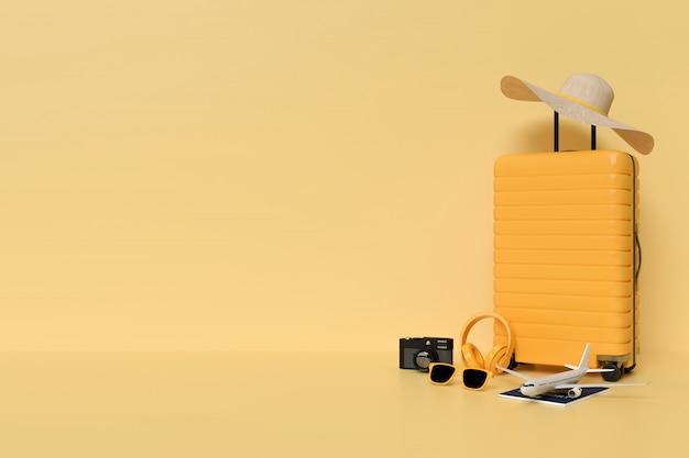 Koffer mit reiseaccessoires, essentieller urlaubsartikel minimaler stil auf pastellhintergrund.