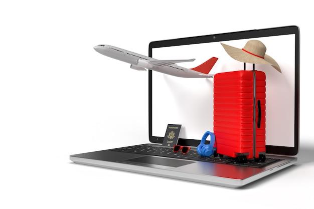 Koffer mit reiseaccessoires, unverzichtbare urlaubsartikel