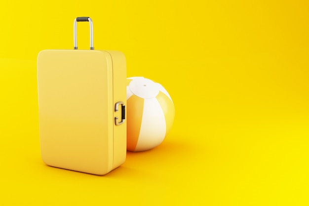 Koffer und wasserball der reise 3d