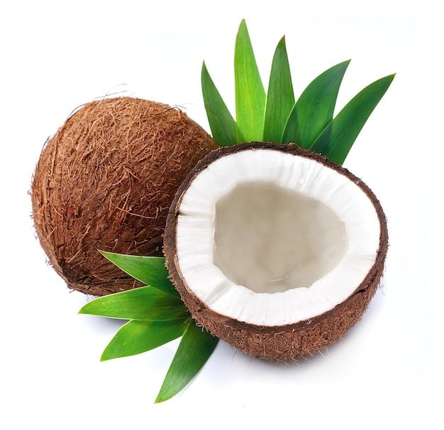 Kokosnüsse mit blättern auf weiß