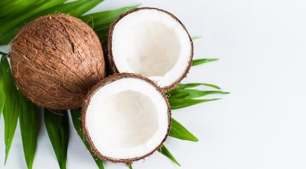 Kokosnuss mit grün verlässt auf einem weißen hintergrund.