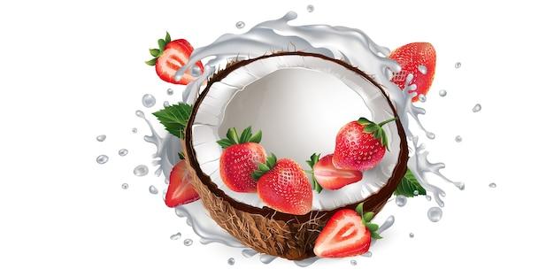 Kokosnuss und erdbeeren und ein schuss milch oder joghurt.