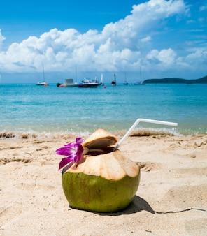 Kokosnussgetränk auf der sandozean-strandinsel, blauer wolkenhimmel ist schöner tag
