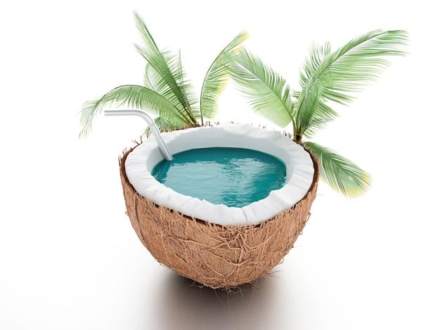Kokosnussparadies. sommerkonzept auf weißem hintergrund