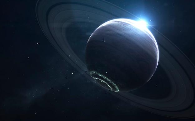 Kolossaler gasriese. science-fiction-tapete, planeten, sterne, galaxien und nebel in einem fantastischen kosmischen bild. elemente dieses bildes von der nasa geliefert