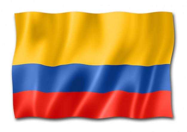 Kolumbianische flagge, isoliert auf weiss
