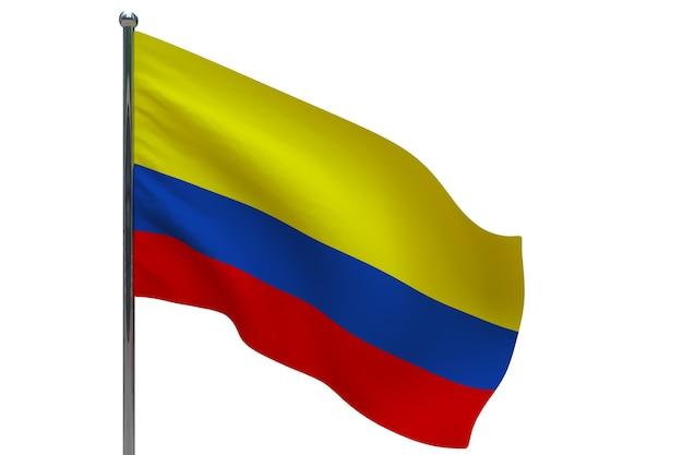 Kolumbien flagge auf pole. fahnenmast aus metall. nationalflagge von kolumbien 3d-illustration auf weiß