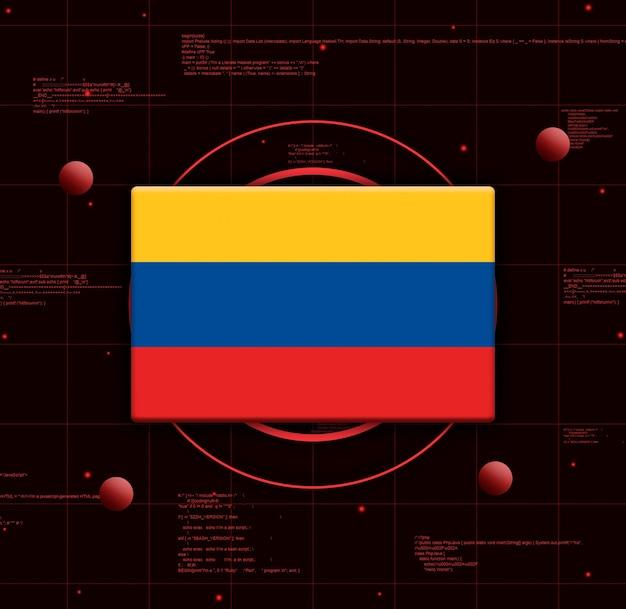 Kolumbien flagge mit realistischen technologieelementen, 3d-rendering