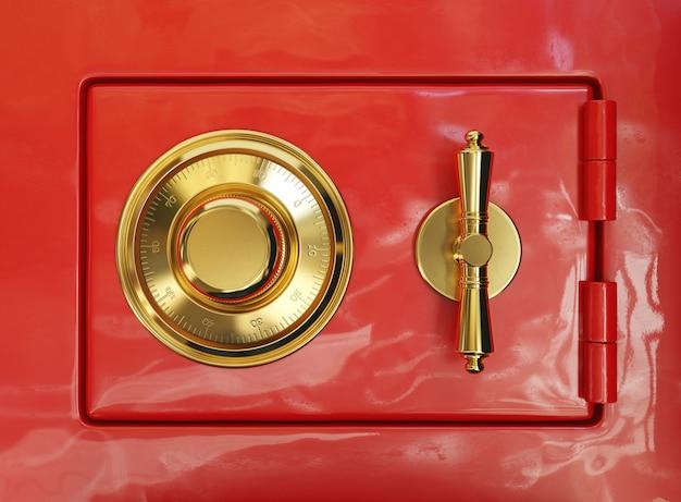Kombinationsschloss auf einem roten banktresor, 3d illustration