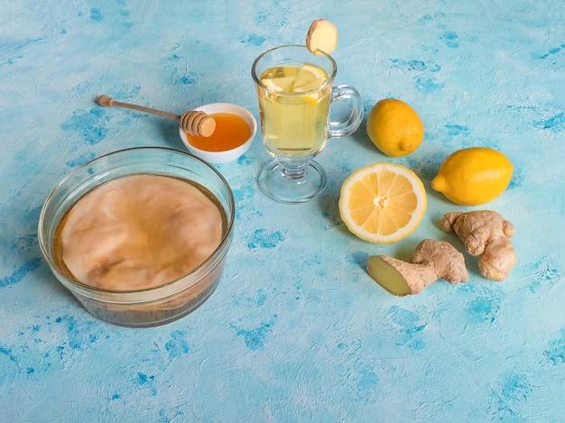 Kombucha-pilz mit ingwerwurzel, honig und zitrone. antivirale dri