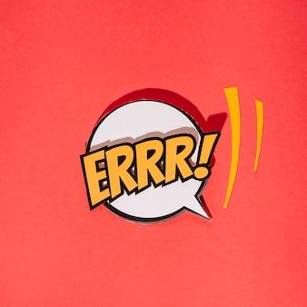 Komische rede sprudelt mit text auf rotem hintergrund