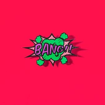 Komischer text des knalls im pop-art-stil auf rotem hintergrund