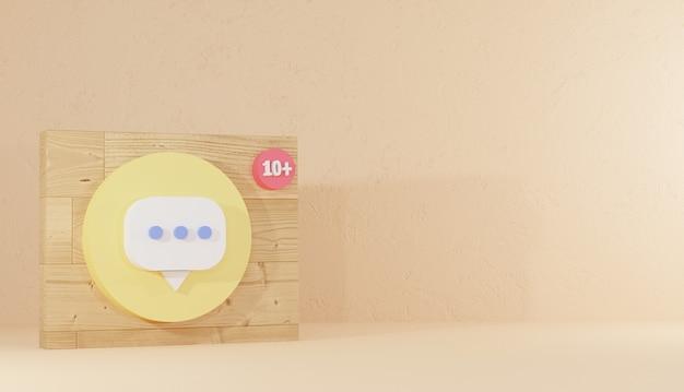 Kommentarsymbol und logo auf holzbrett minimaler 3d-hintergrund, der das zeichen des sozialen netzwerks premium rendert