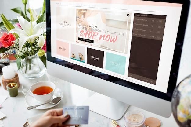 Kommerzielles online-internet-konzept einkaufen