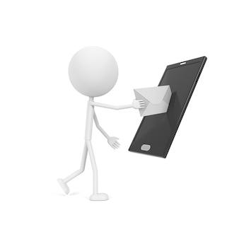 Kommunikation durch neue technologie. 3d-rendering.