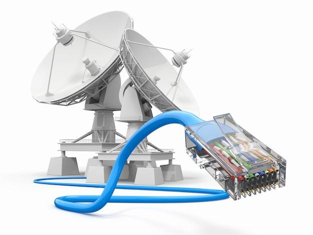 Kommunikation. satellitenschüssel mit kabel.