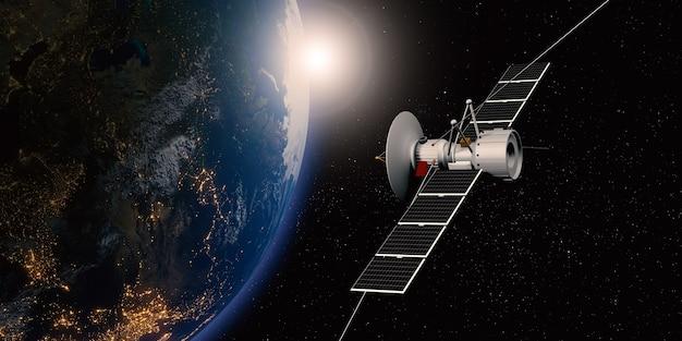 Kommunikationssatellit, der im weltraum schwebt, mit einem globus im hintergrund, der über satellit sendet