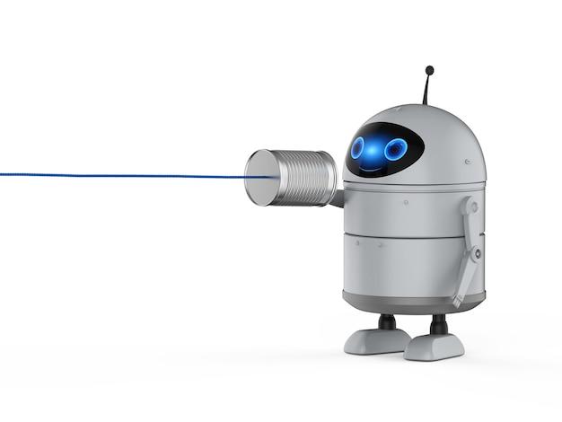 Kommunikationstechnologiekonzept mit 3d-rendering-roboter mit blechdose telefon