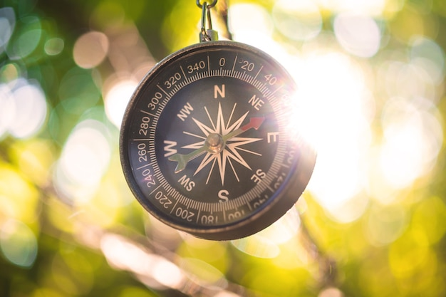 Kompass im wald, nahaufnahmefoto