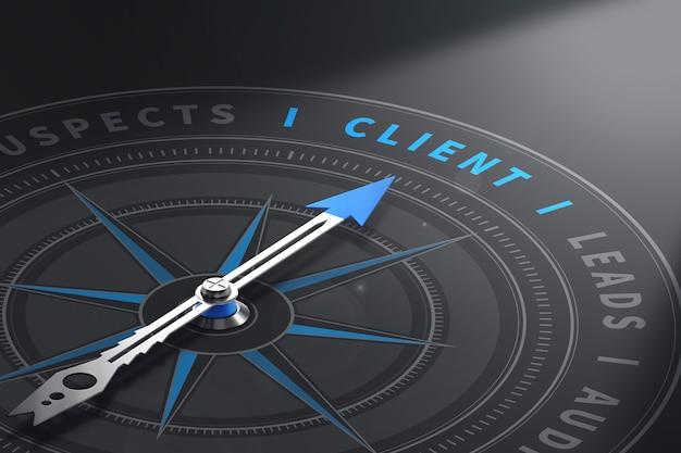 Kompass mit nadel, die auf das wort client zeigt. kundenbeziehungsmanagement. 3d-illustration