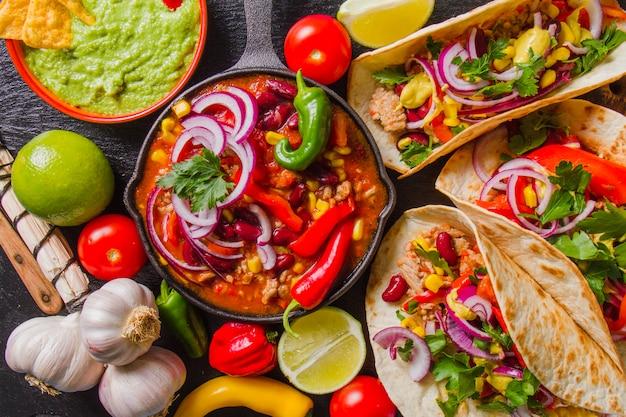 Komplettes mexikanisches menü