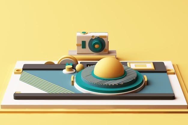 Komposition der kamera von geometrischen formen im memphis-stil in gelb- und grüntönen. 3d-rendering-illustration