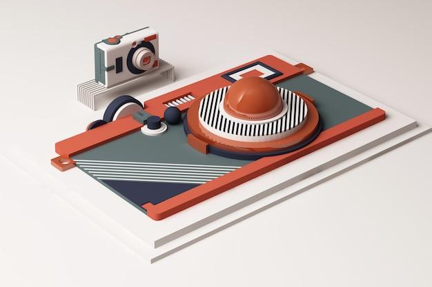 Komposition die kamera aus geometrischen formen im memphis-stil in oragne und blauton. 3d-rendering-illustration