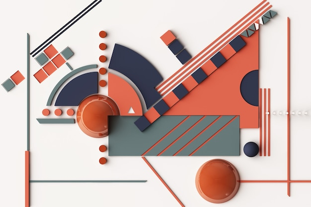 Komposition geometrischer formen in orange und dunkelblau. 3d-rendering-illustration