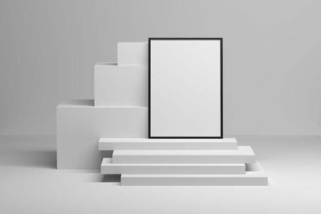 Komposition mit a4-fotorahmen auf einem stapel von weißen würfelplatten 3d-darstellung