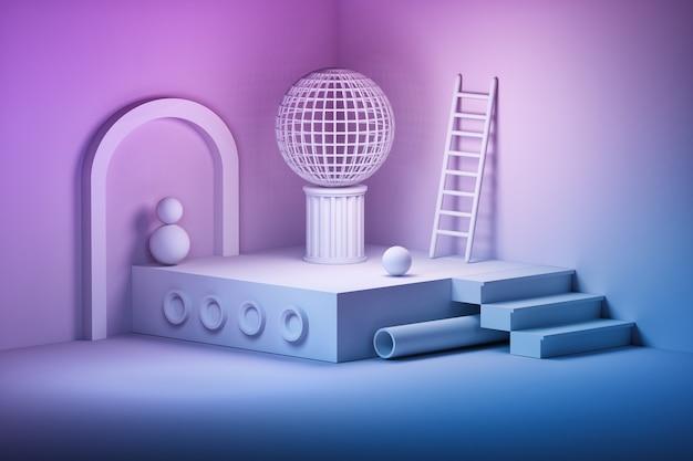 Komposition mit bogen, bällen, leiter, treppe, podestrohr in rosa blauen farben
