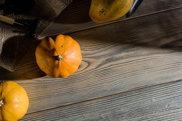 Komposition mit kürbissen und gartengeräten, die auf planken liegen. landwirtschaft und landwirtschaftliches konzept.