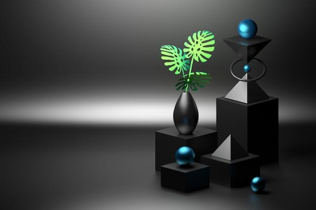 Komposition mit würfeln, kugeln, pyramiden und vase mit monstera in schwarzer farbe