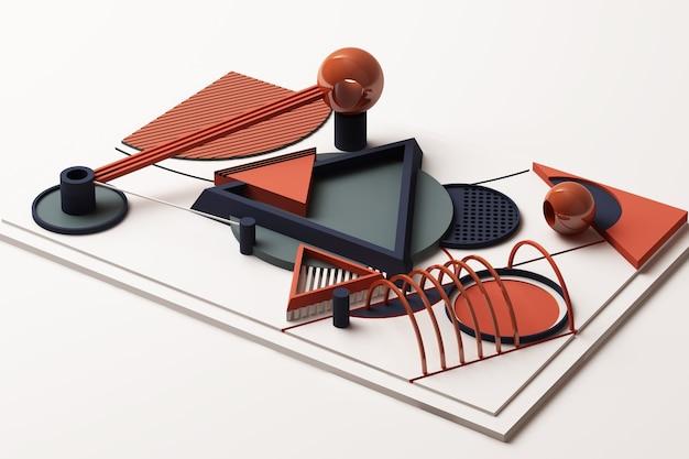Komposition von geometrischen formen im memphis-stil in orange und blau. 3d-rendering-illustration