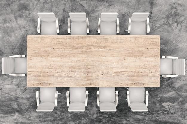 Konferenztisch und bürostühle mit 3d-rendering von oben
