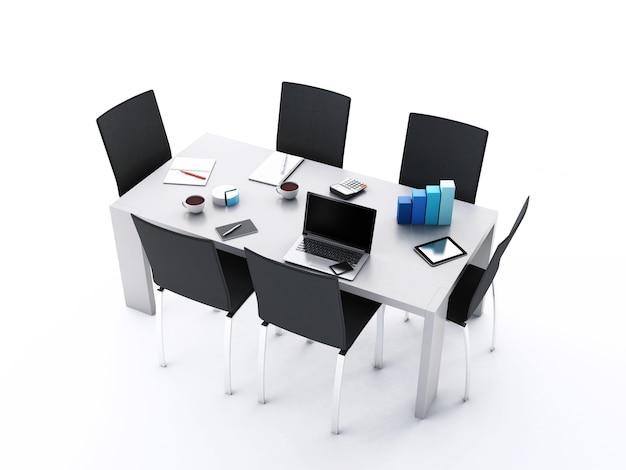 Konferenzzimmer des büros 3d mit bürozubehör.