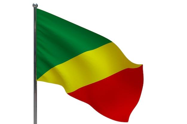 Kongo flagge auf stange. fahnenmast aus metall. nationalflagge des kongo 3d-illustration auf weiß