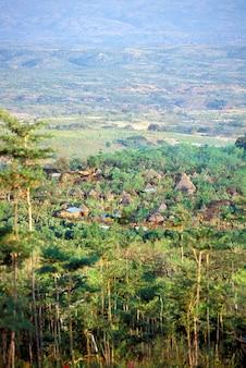 Konso village von afar aus gesehen