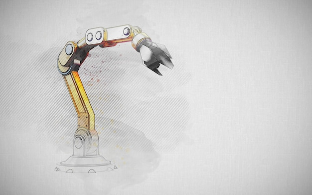 Konstruktionskonzept: handgezeichneter skizzenrobotikarm