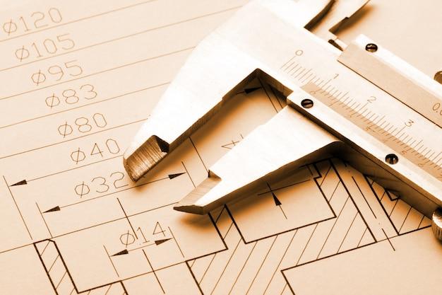 Konstruktionszeichnung und bremssattel
