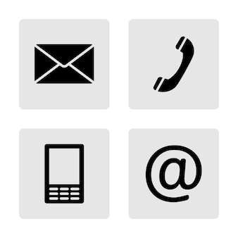 Kontakt monochrome icons set - umschlag, handy, telefon, mail