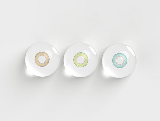 Kontaktlinse in den wasserblasen auf weißem hintergrund 3d übertragen