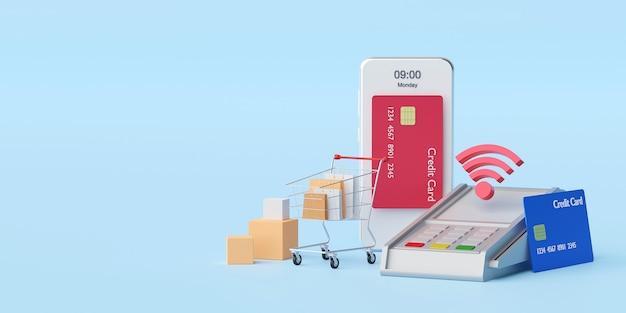 Kontaktloses bezahlen per nfc-technologie drahtloses bezahlen mit kreditkarte auf dem smartphone