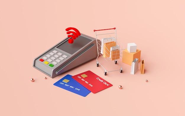 Kontaktloses bezahlen per nfc-technologie drahtloses bezahlen per kreditkarte