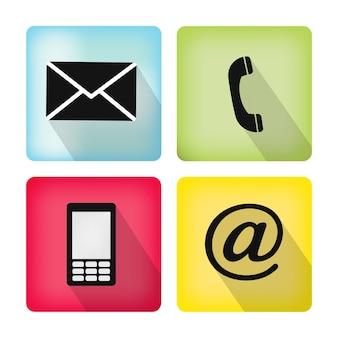 Kontaktsymbole buttonset - umschlag, handy, telefon, mail