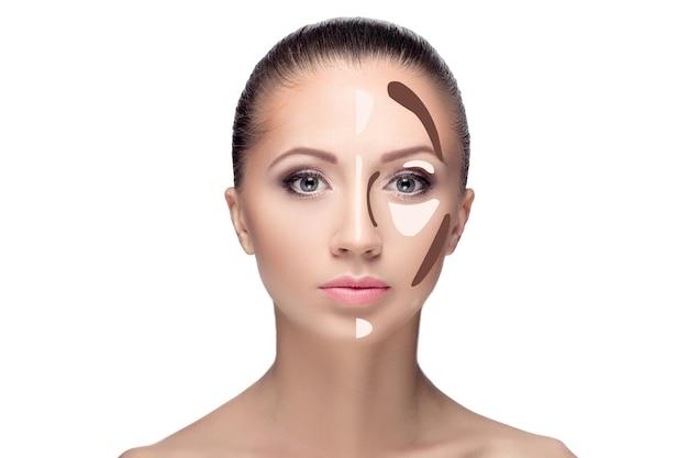 Konturieren make-up frauengesicht