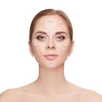 Konturierung. bilden sie frauengesicht auf weißem hintergrund. make-up konturieren und hervorheben. professionelle gesichts-make-up-probe
