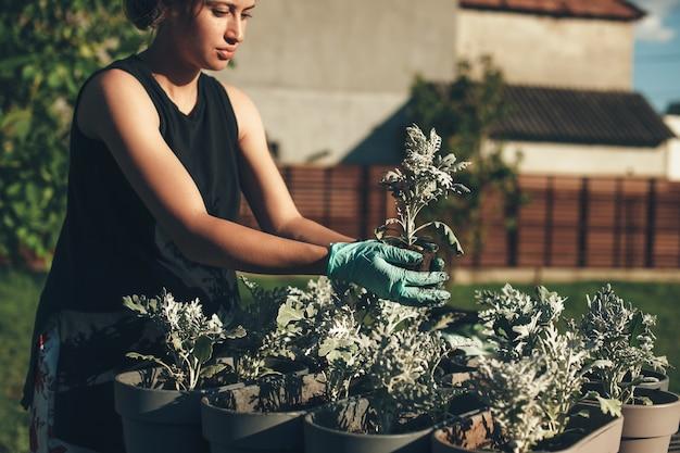 Konzentrierte kaukasische frau, die blumen zu hause draußen mit handschuhen an einem sonnigen sommertag vergießt